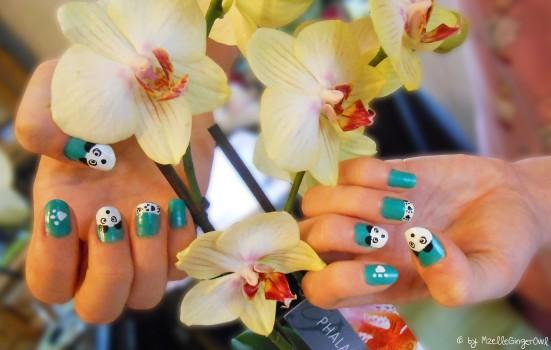 panda et orchidée